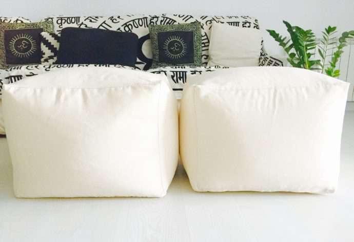 puf cuadrado de tela de algodón lisa de algodón relleno