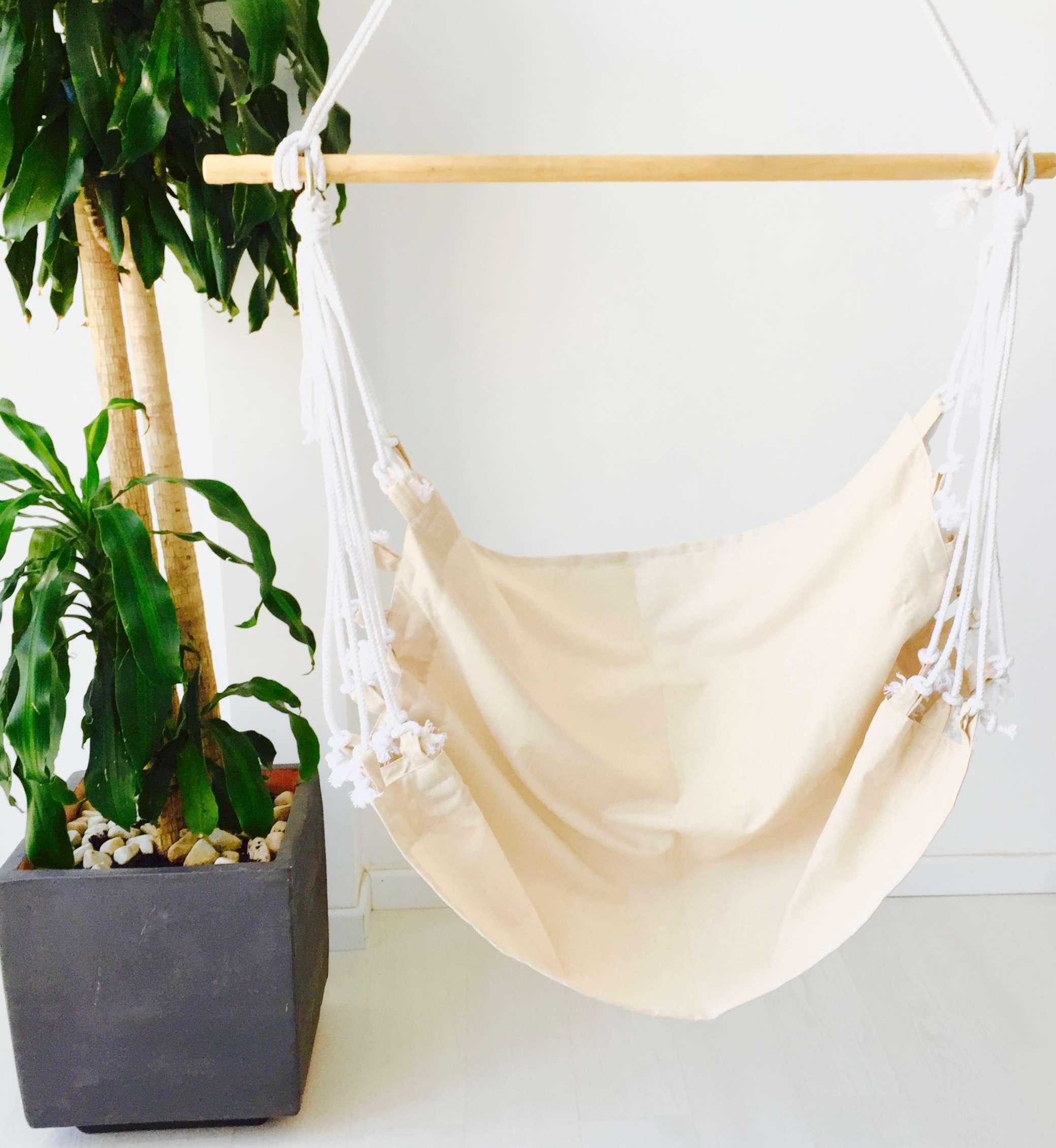 Hamaca silla colgante de tela lisa geometrik design for Silla hamaca colgante