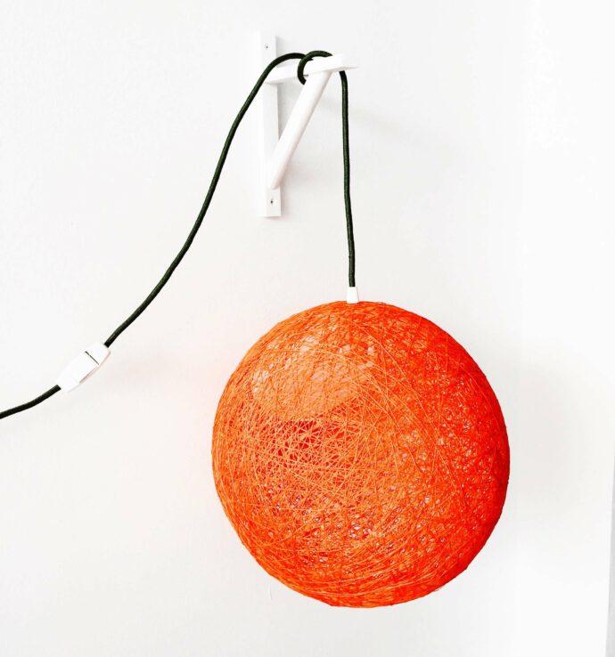 lámpara de pared esfera hecha a mano de hilo con interruptor y enchufe