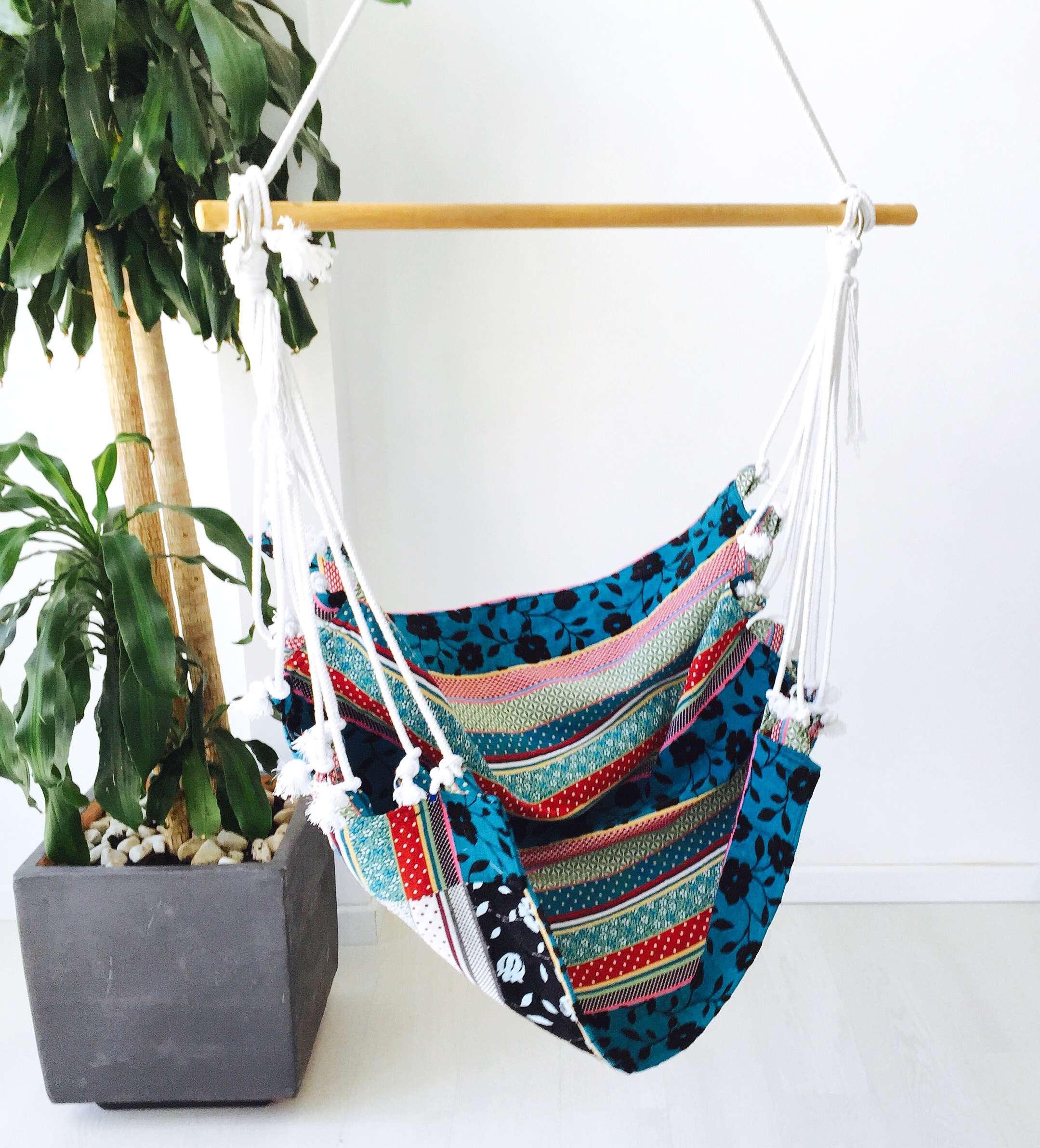 Hamaca silla colgante de tela estampada geometrik design - Hamacas de diseno ...