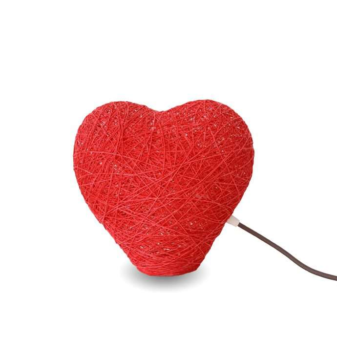 Decorative table lamp HEART red