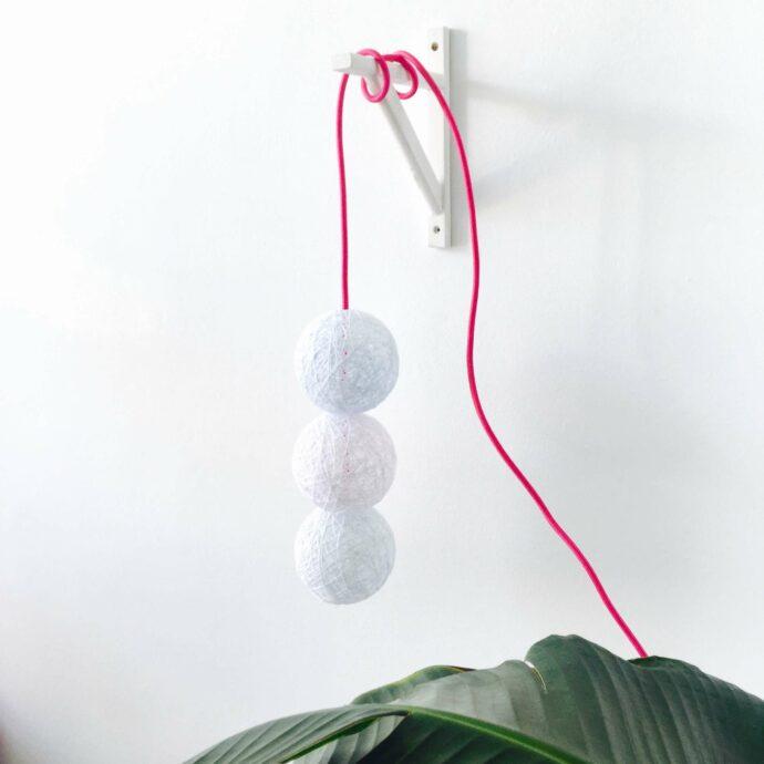 lámpara de techo colgante 3 bolas de hilo hecha a mano