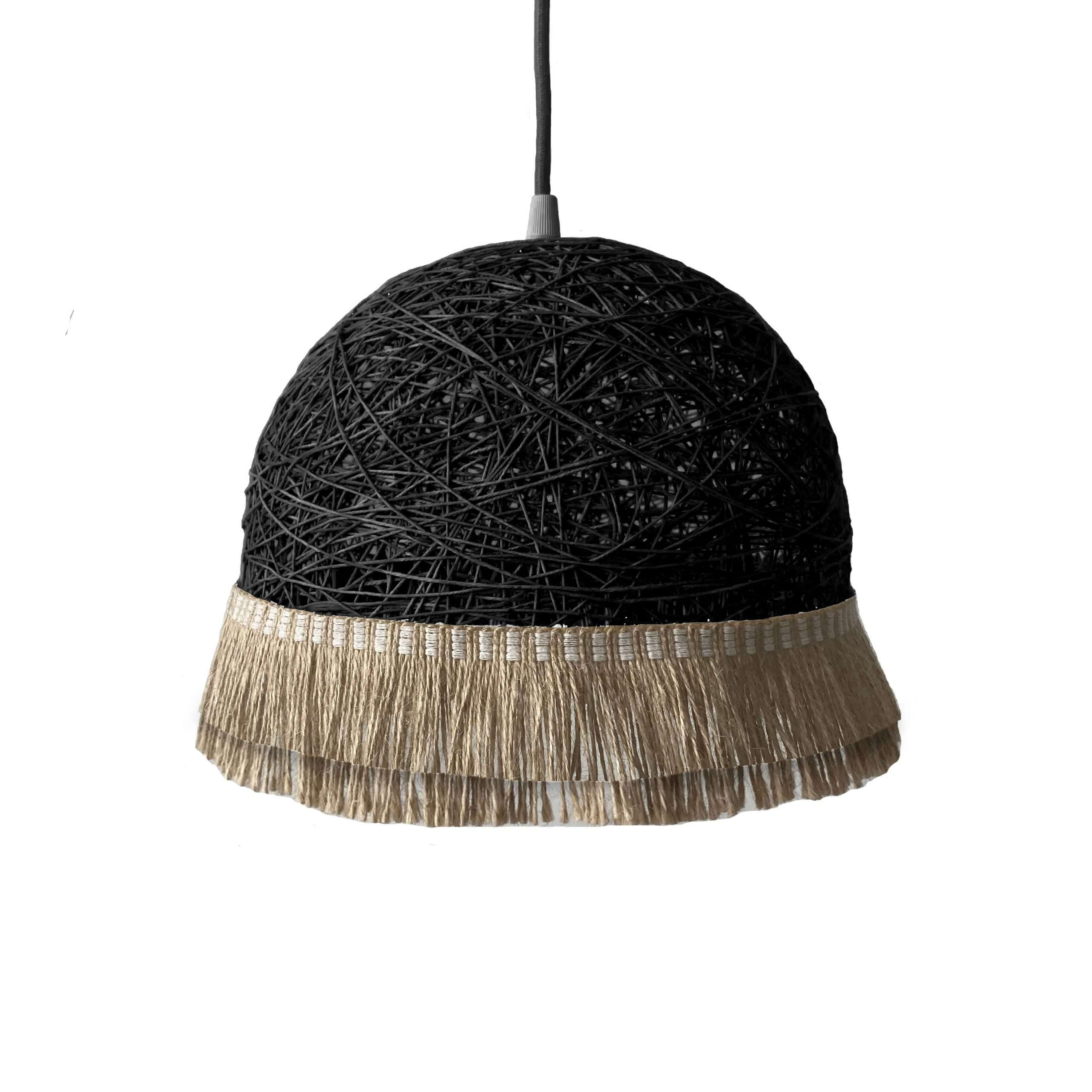 Modern pendant light - TWO FRINGES black