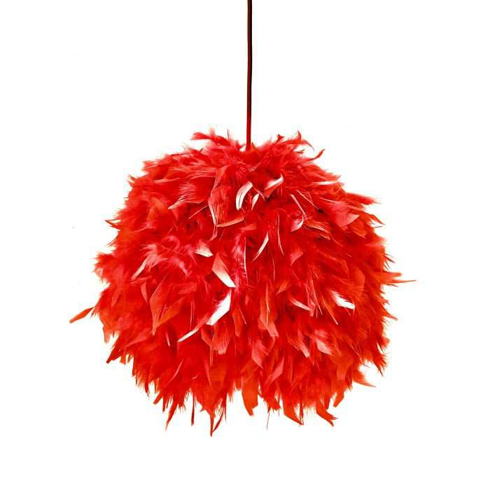 Decorative feathers lamp FEATHERS red