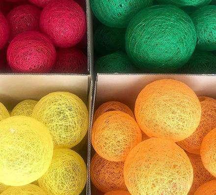 colores lámparas algodón